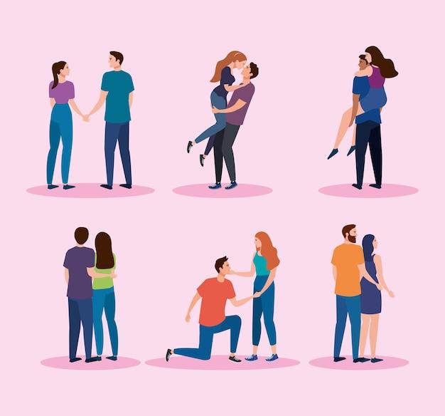 Conjunto de personagens de seis casais amantes