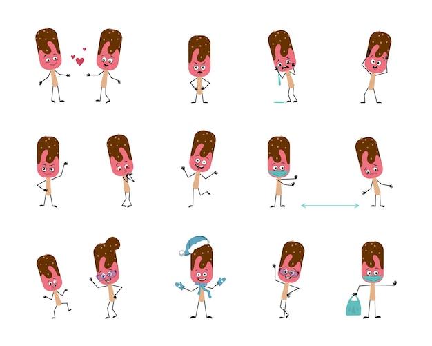Conjunto de personagens de sorvete com emoções, rosto, mãos e pernas. um picolé frio doce alegre ou triste com os olhos se apaixona, o herói mantém a distância em uma máscara, a sobremesa está dançando em um chapéu de papai noel