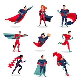 Conjunto de personagens de super-heróis