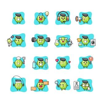 Conjunto de personagens de tênis fofos e kawaii