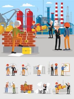 Conjunto de personagens de trabalhadores de edifícios industriais