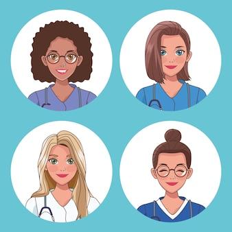 Conjunto de personagens de trabalhadores de enfermagem