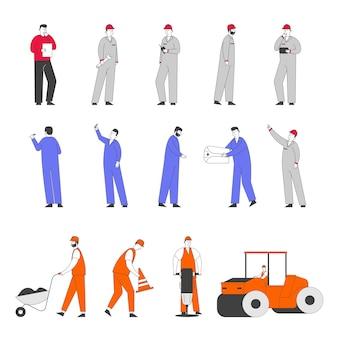 Conjunto de personagens de trabalhadores em obras de construção e reparação de estradas.