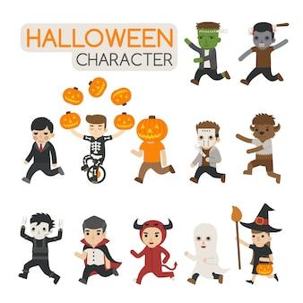 Conjunto de personagens de traje de halloween, doçura ou travessura