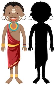 Conjunto de personagens de tribos africanas com sua silhueta