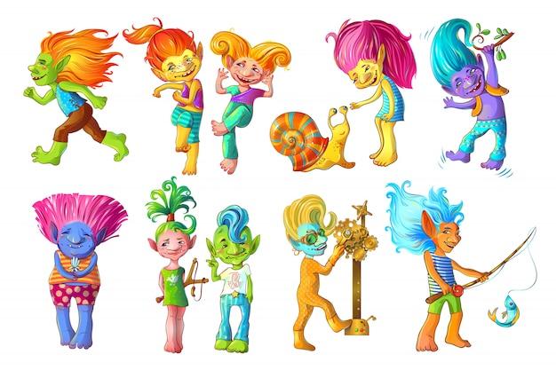Conjunto de personagens de trolls engraçados de desenho animado
