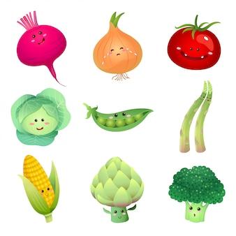 Conjunto de personagens de vegetais fofos