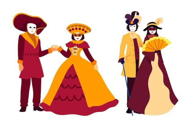 Conjunto de personagens desenhados do carnaval veneziano
