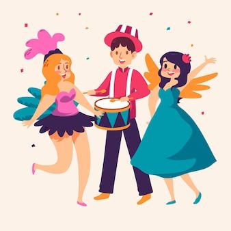 Conjunto de personagens desenhados para carnaval