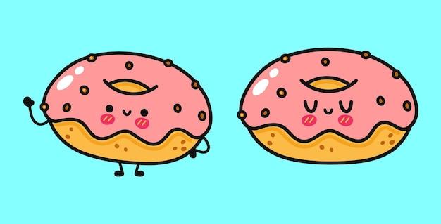 Conjunto de personagens divertidos e fofinhos donut