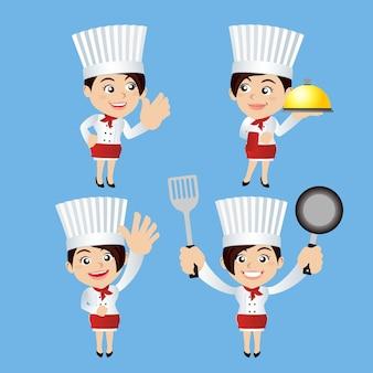 Conjunto de personagens do chef em diferentes poses