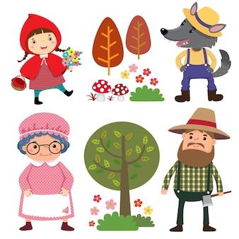 Conjunto de personagens do conto de fadas da chapeuzinho vermelho