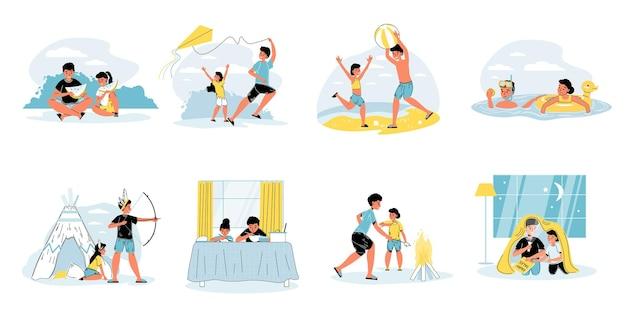 Conjunto de personagens do irmão mais velho e da irmã mais nova passam o tempo jogando, comendo, lendo o livro juntos