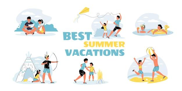 Conjunto de personagens do irmão mais velho e da irmã mais nova passam o tempo nas férias de verão jogando