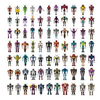 Conjunto de personagens do robô