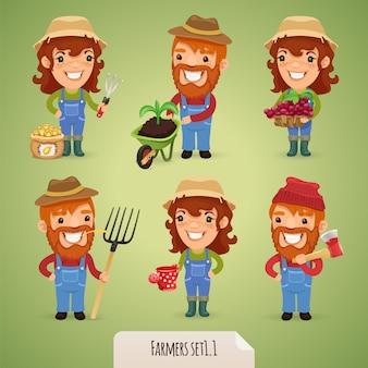 Conjunto de personagens dos desenhos animados de agricultores
