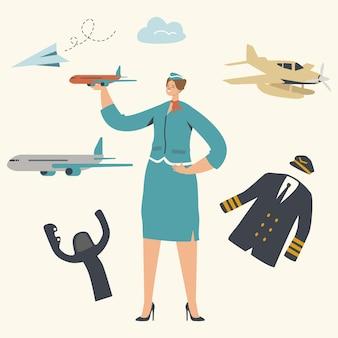 Conjunto de personagens e elementos de aviação e aeroporto