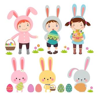Conjunto de personagens e ícones sobre o tema páscoa em estilo cartoon