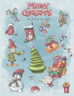 Conjunto de personagens e itens festivos de natal e ano novo.