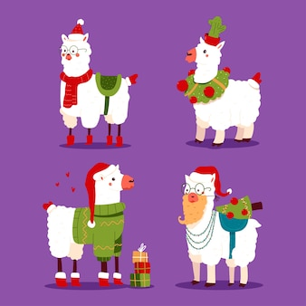 Conjunto de personagens engraçados do feriado de alpaca de natal com chapéu de papai noel