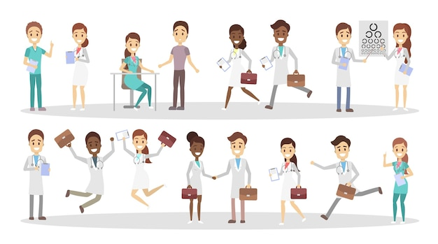 Conjunto de personagens engraçados do médico com várias poses, emoções de rosto e gestos. trabalhadores da medicina sorridentes com pastas conversando com os pacientes, correndo e pulando. ilustração