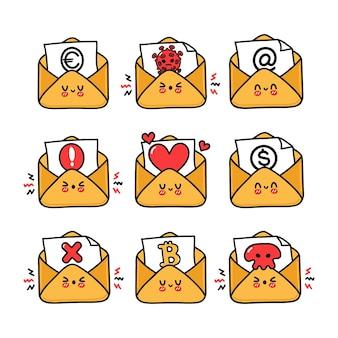Conjunto de personagens engraçados e fofas de letras felizes