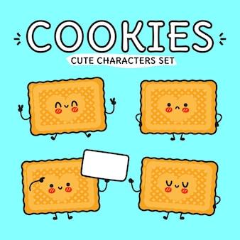 Conjunto de personagens engraçados e fofinhos de biscoitos felizes