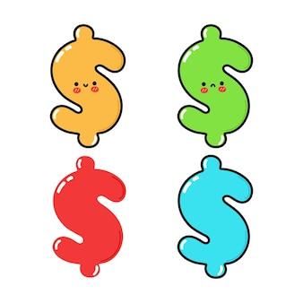 Conjunto de personagens engraçados e fofinhos de dólar