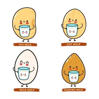 Conjunto de personagens engraçados e fofinhos de leite vegetal