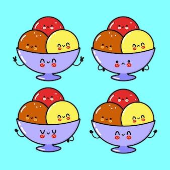 Conjunto de personagens engraçados e fofinhos de sorvete
