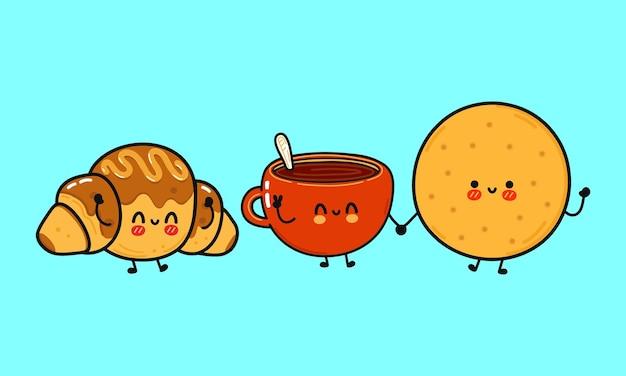 Conjunto de personagens engraçados e fofos biscoitos felizes xícara de café e croissant de chocolate