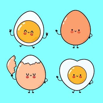 Conjunto de personagens engraçados e fofos de ovo feliz