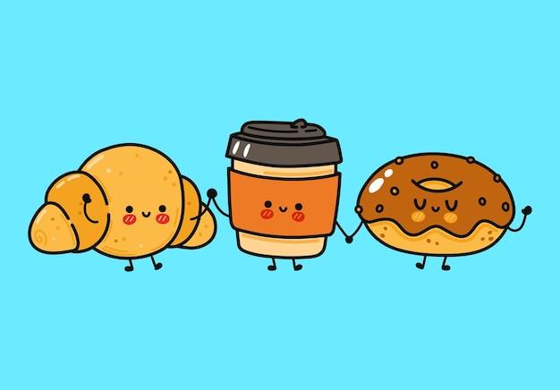 Conjunto de personagens engraçados e fofos donut de chocolate feliz, café e croissant
