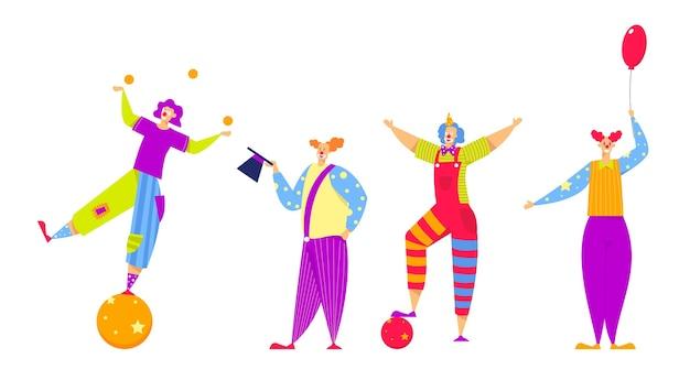 Conjunto de personagens engraçados em fantasias para espetáculo de circo ou entretenimento