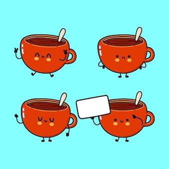 Conjunto de personagens engraçados fofos e felizes com uma xícara de café