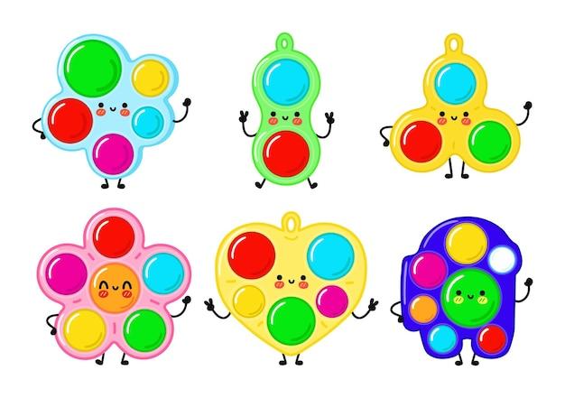 Conjunto de personagens engraçados fofos felizes simples covinhas