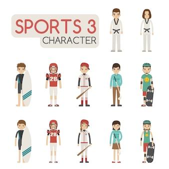 Conjunto de personagens esportivos de desenho animado
