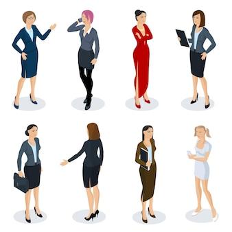 Conjunto de personagens, estilos e profissões diferentes de pessoas design plano isométrico. mulher isométrica, vestindo uma coleção de diversas poses de ação de comprimento total.