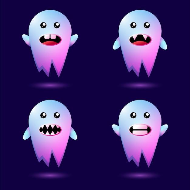 Conjunto de personagens fantasma para design completo de halloween