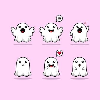 Conjunto de personagens fantasmas fofos coleção de ilustrações para o halloween com expressão fofa