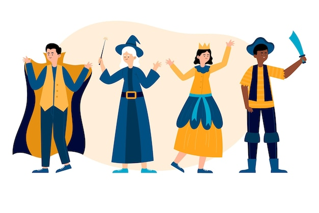 Conjunto de personagens felizes de carnaval desenhados à mão