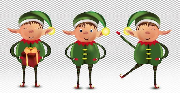 Conjunto de personagens felizes do pequeno duende de natal