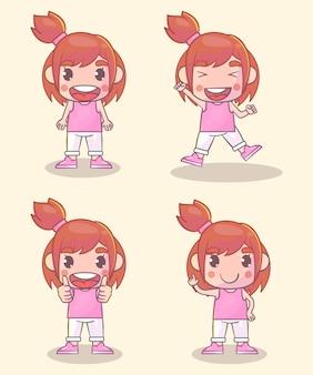 Conjunto de personagens femininas com muitas expressões gestuais