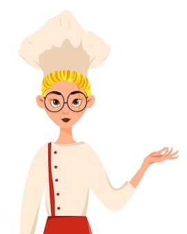 Conjunto de personagens femininas, cozinheiro mulher aponta para a mão para o lado.