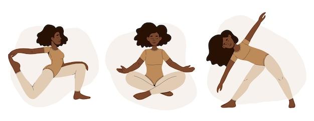 Conjunto de personagens femininas de desenho animado demonstrando várias poses de ioga