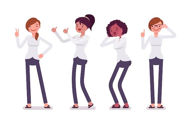 Conjunto de personagens femininas em um funcionário formal