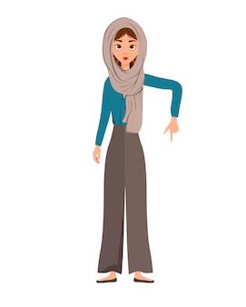 Conjunto de personagens femininas. garota aponta para a mão direita para o lado.