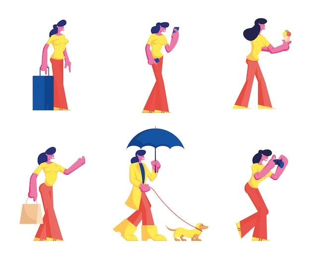 Conjunto de personagens femininas vestindo roupas casuais. ilustração plana dos desenhos animados