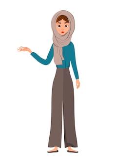 Conjunto de personagens femininos. a menina aponta para a mão direita para o lado