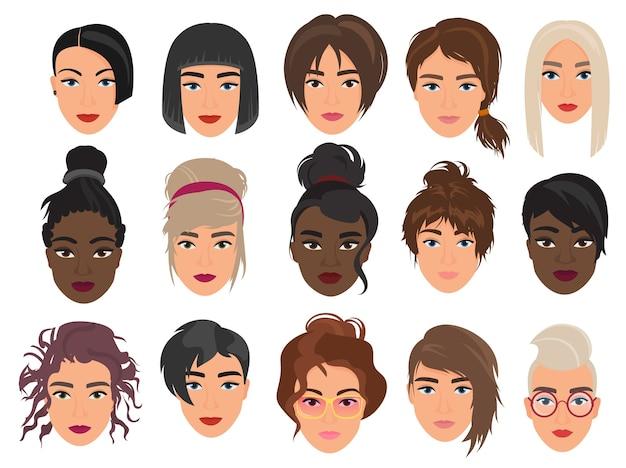 Conjunto de personagens femininos com avatares, vários cortes de cabelo modernos e alternativos da moda